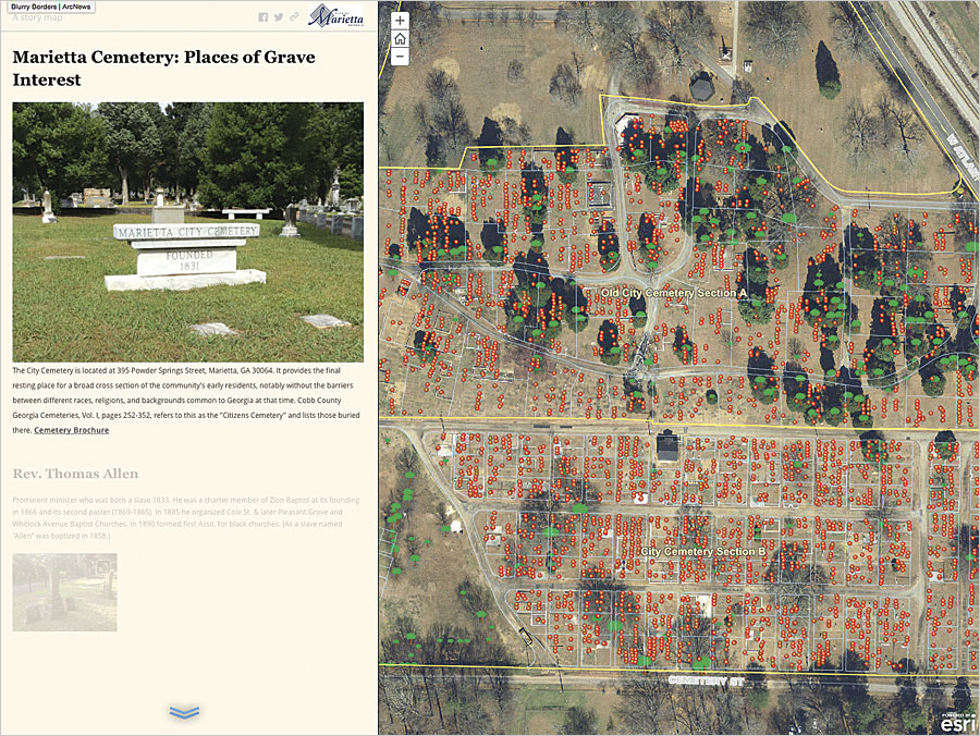 To tell the cemetery's stories to the public, the GIS team used Esri Story Map apps to merge its newly collected data with an existing stack of historical narratives and vintage photographs.