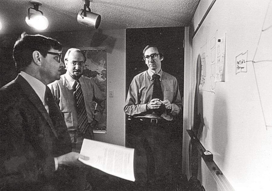 From left to right, Kent Smith, Bill Derrenbacher, and Jack Dangermond—three of Esri's trailblazers in the 1970s.