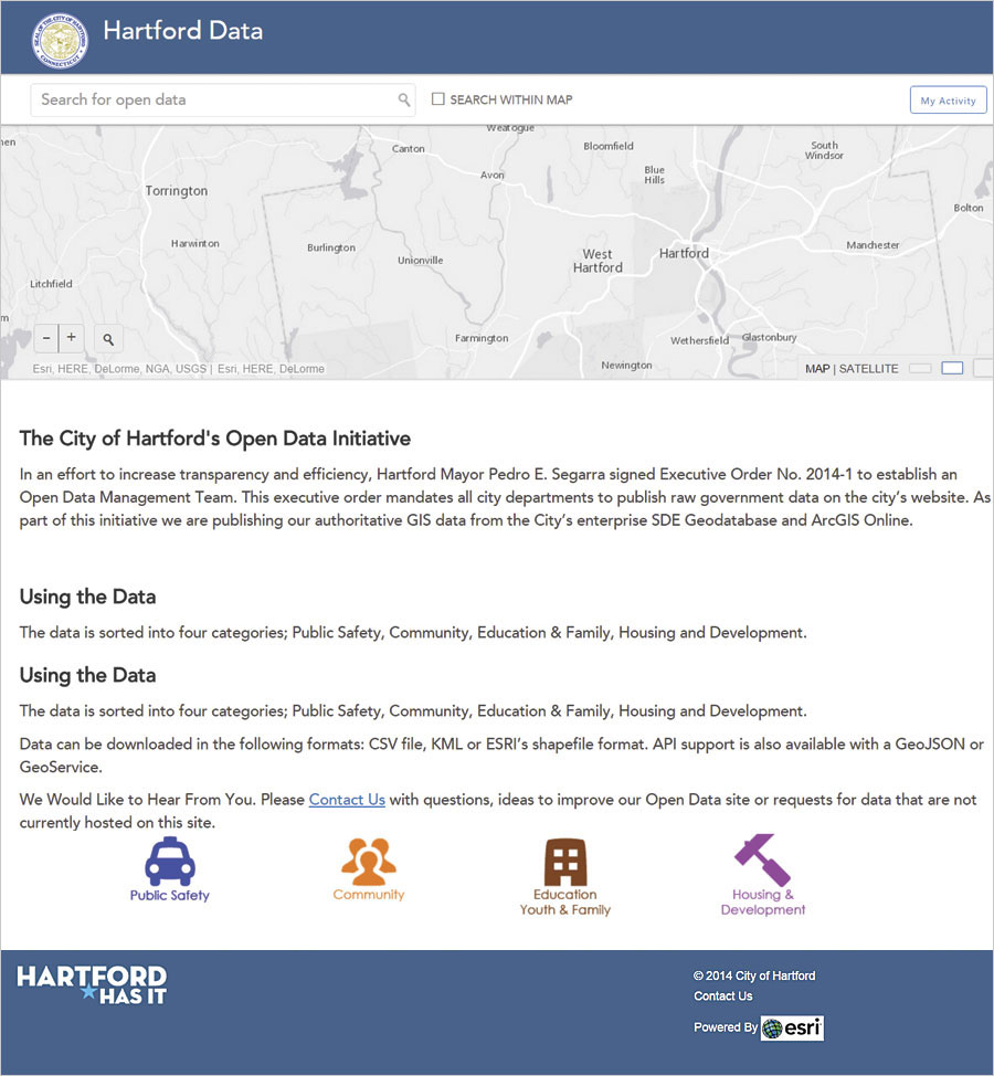 The City of Hartford has released more than 70 datasets on its ArcGIS Open Data site.