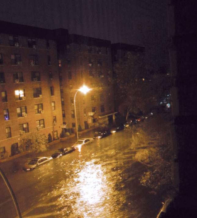 The storm surge from Hurricane Sandy flooded Ocean Avenue in Sheepshead Bay, Brooklyn, actually producing waves on the major thoroughfare. (Photo courtesy of JoAnne Castagna.)