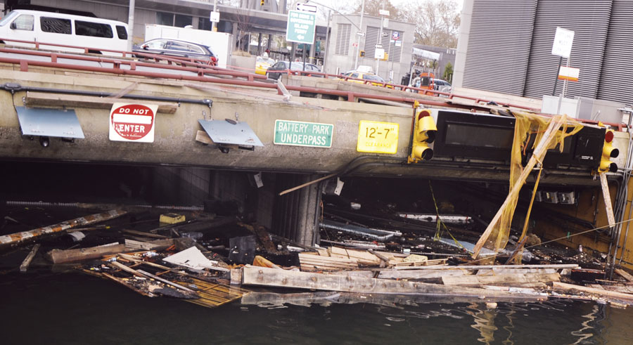 Hurricane Sandy flooded the Battery Park Underpass, which keeps traffic flowing independently of the labyrinthine streets that make up the southern tip of Manhattan. (Photo courtesy of the US Army Corps of Engineers.)