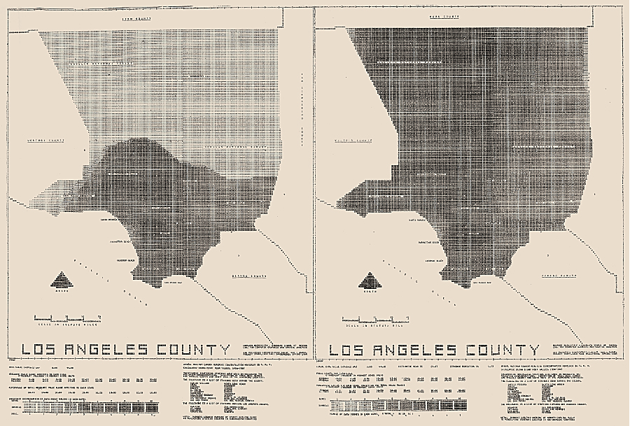 Two maps created by Jack Dangermond when he was a graduate student at Harvard. These maps were made using SYMAP, and they demonstrate the effects of barriers when used in modeling the distribution of air pollution.