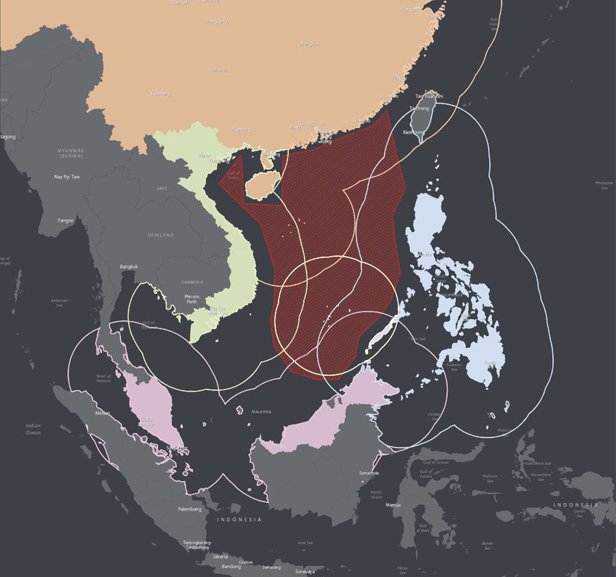 In the South China Sea, multiple countries have conflicting territorial claims, making for complicated borders.
