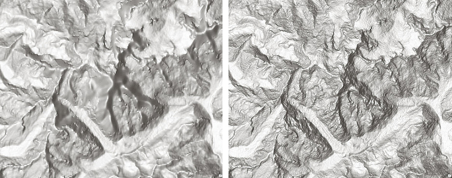 Compare the SRTM 90 m image on the left of Mont Blanc, the highest peak in the Alps, with the new SRTM 30 m image, on the right. This SRTM 30 m data has been added to Esri World Elevation services and is available at no cost with an ArcGIS Online organizational account.