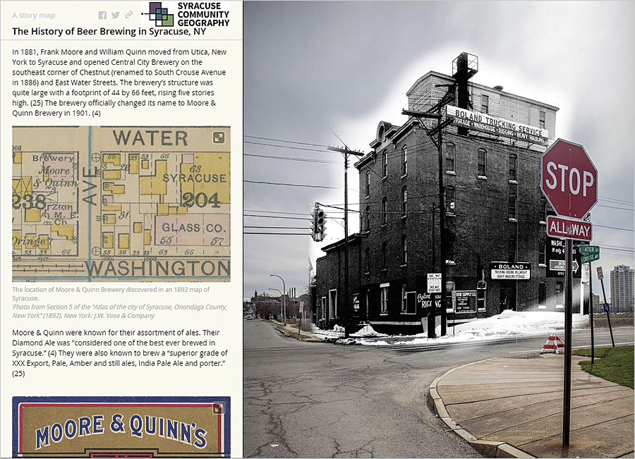 The use of digital composite photography illustrates where the 1881 Central City Brewery would have stood in present-day Syracuse.
