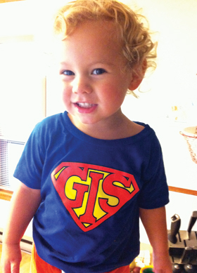 Two year old Elliot Wilson wearing his favorite GIS t-shirt