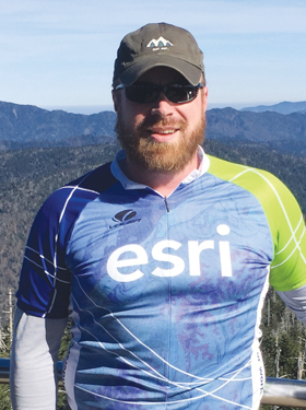 Blake Weber wearing his Esri t-shirt at the top of Clingmans Dome in Great Smoky Mountains National Park