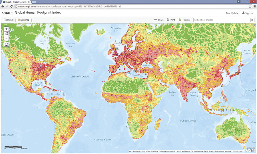 The Global Human Footprint Index from CIESIN is now available in ArcGIS Online and incorporates data on human population pressure, human land use and infrastructure, and human access to spaces such as roads and navigable rivers.