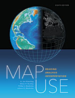 Book cover of Map Use: Reading, Analysis, Interpretation, Eighth Edition by A. Jon Kimerling, Aileen R. Buckley, Phillip C. Muehrcke, and Juliana O. Muehrcke