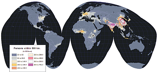 Running a World Population Estimate map analysis using a 500-kilometer radius, northeastern India has the largest population in the world, followed by eastern China.