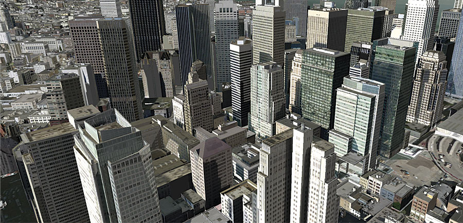 This 3D view of buildings in San Francisco, which is a web service, makes it easier to see details that might not be prominent on a 2D map.