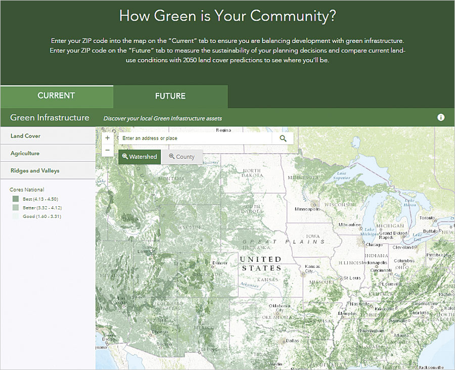 Anyone can assess the current state of green infrastructure in a community by using a simple online tool at esri.com/greeninfrastructure.