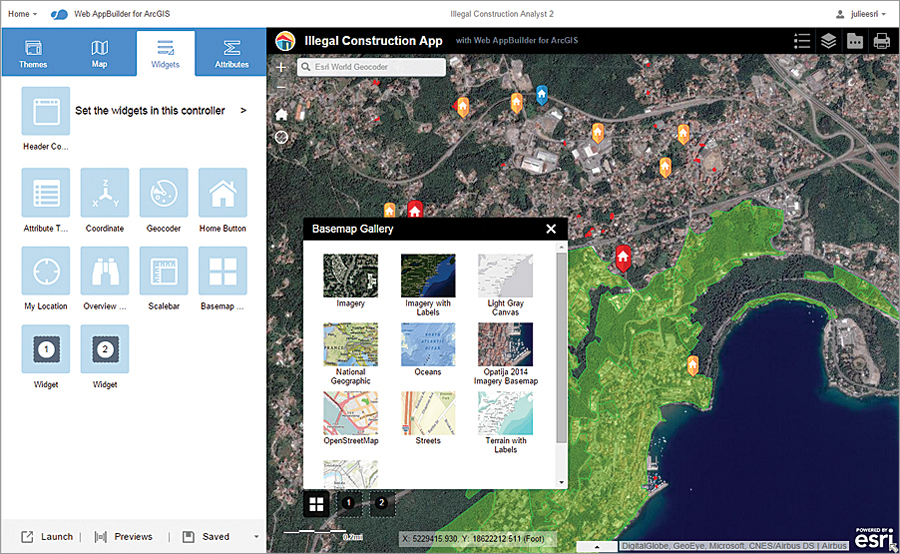 Web AppBuilder gives you a way to create web applications in ArcGIS from scratch without writing a single line of code.