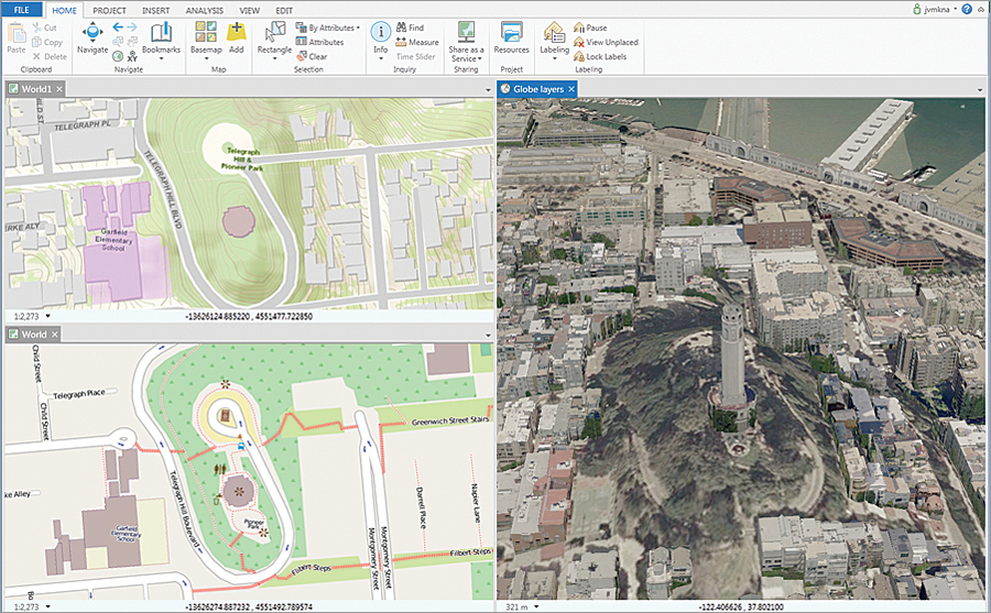 The multipane views in ArcGIS Pro let you compare changes and edit side by side in 2D and 3D.