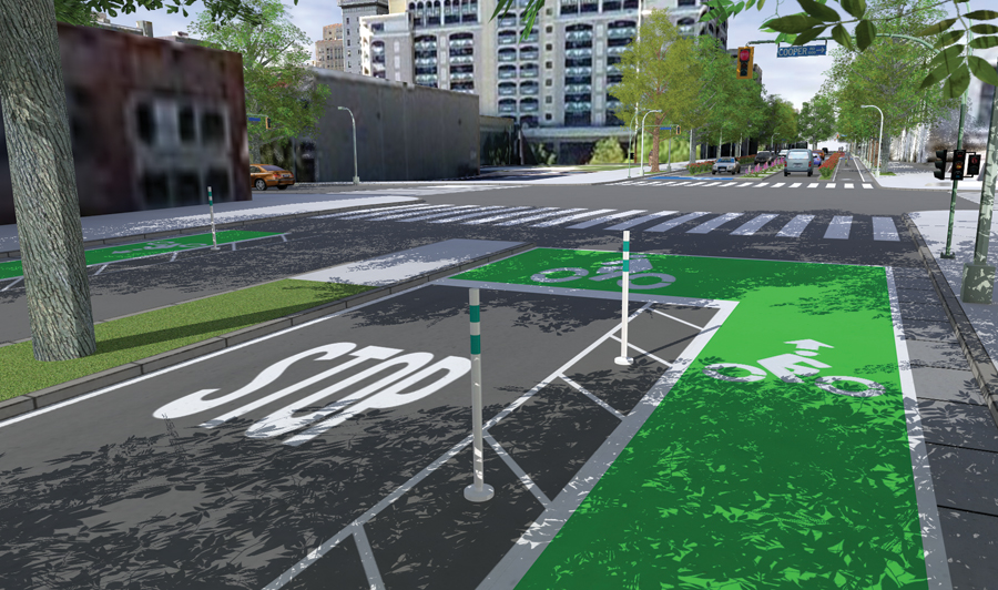 In one demo of CityEngine, the Complete Streets sample was used to quickly generate visualizations of bike lanes, curbs, and trees in 3D.
