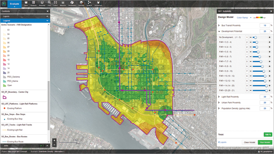 A demo of GeoPlanner for ArcGIS showed how a hypothetical Bus Rapid Transit (BRT) route could be created through downtown San Diego, California, leveraging a geodesign approach.