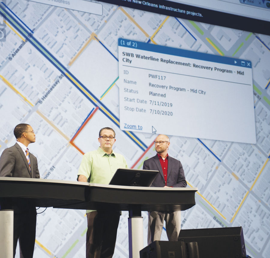From left to right, Lamar Gardere, J. B. Raasch, and Gregory Hymel demonstrated how the City of New Orleans is using GIS to engage citizens in being more thoughtful about land use.