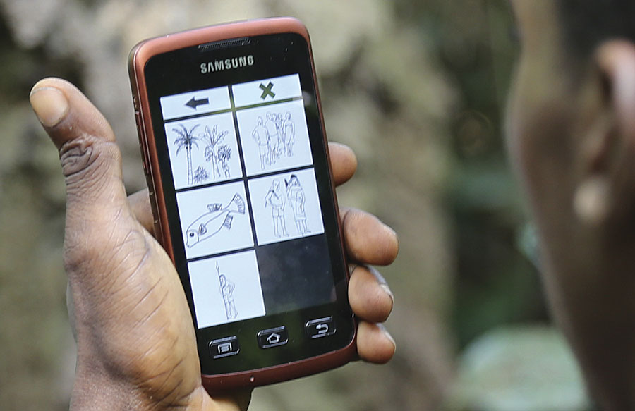 Using the intuitive app, the Mbendjele mapped their tribal lands and highlighted trees that were important to them. (Photo courtesy of Jerome Lewis.)