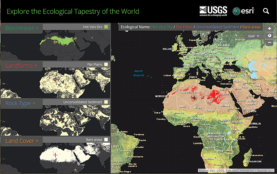 The Ecological Tapestry of the World online explorer application lets you look at the ecological data behind the Global ELU map.