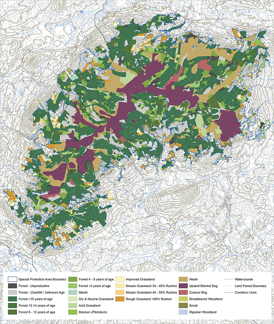 ArcGIS helped the Golden Eagle Trust see that 80 percent of the forest in Ireland's special protection areas is unsuitable habitat for hen harriers.