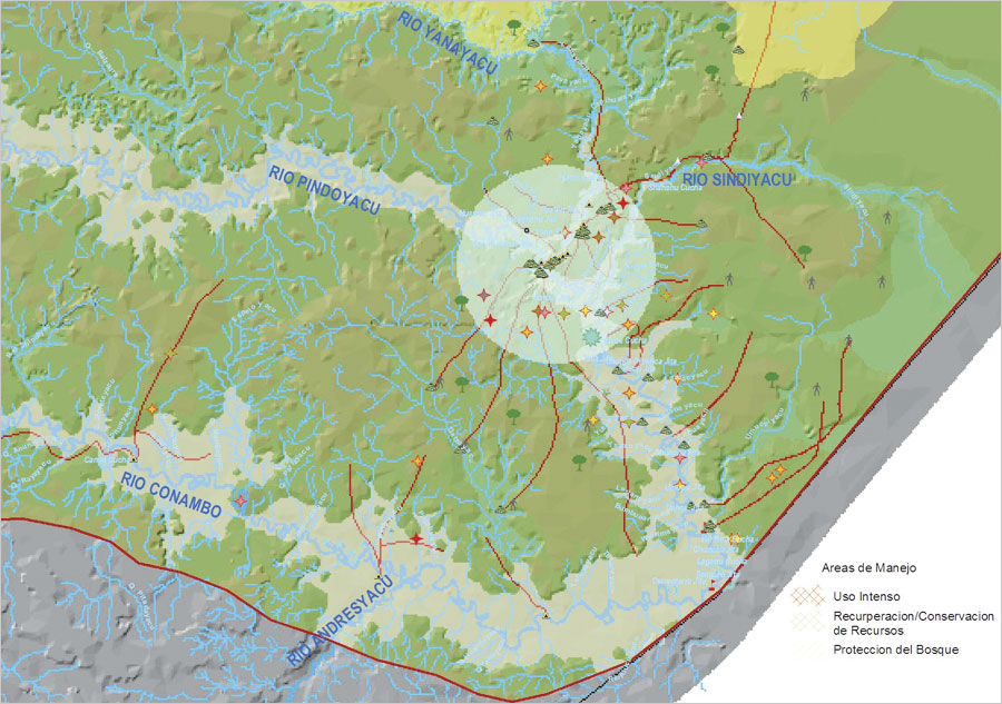With this map of Kichwa territory, users can see the land management plans for different areas in the region. (Map courtesy of AmazonGISnet/IQBSS.)