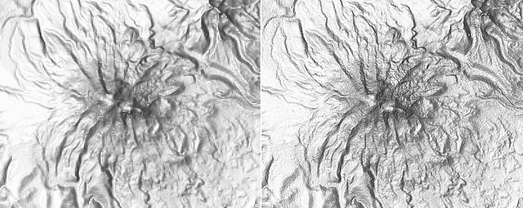 Compare the SRTM 90m image (left) with the more detailed SRTM 30m image (right)