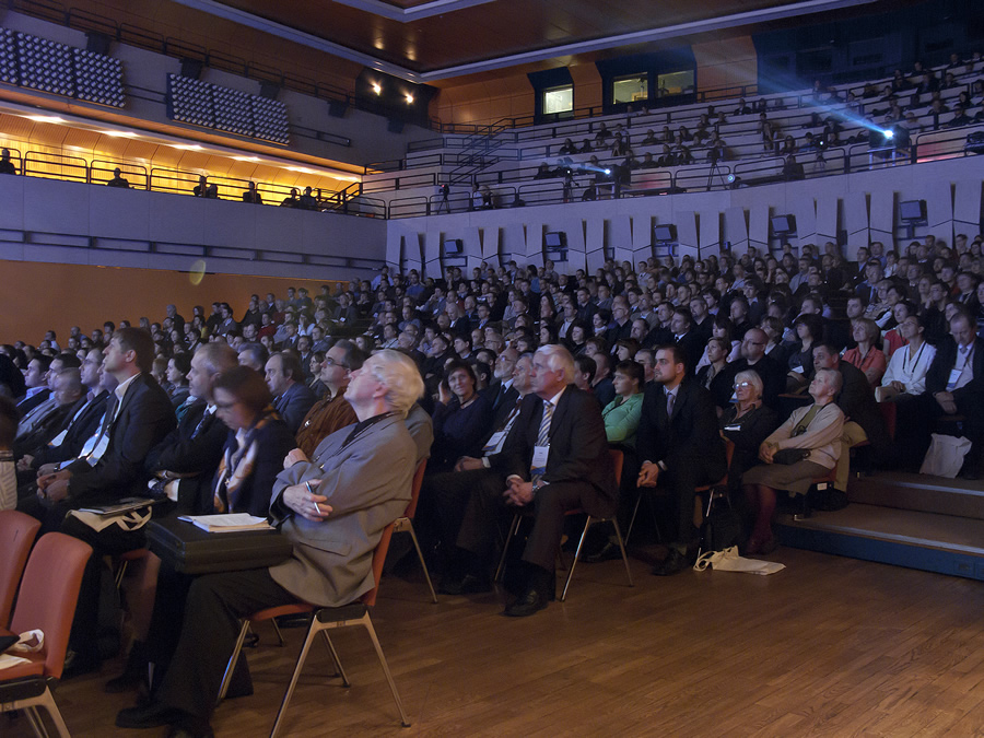 A rapt audience listens to a speaker at the Czech Esri User Conference.