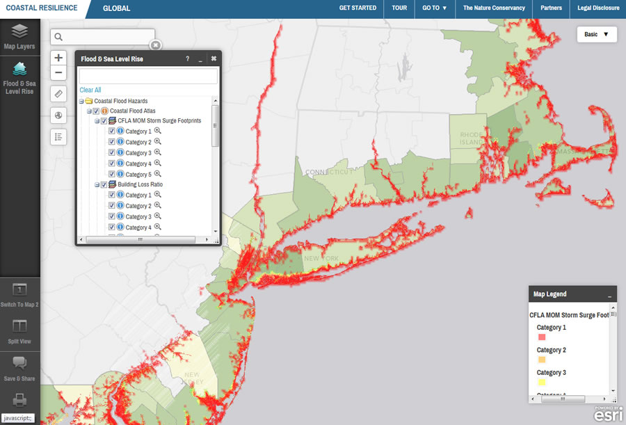 Web mapping services from the Federal Emergency Management Agency (FEMA), USGS, and NOAA were integrated with Coastal Resilience data to help users assess risk and vulnerability to flooding and sea level rise across the eastern seaboard of the United States.