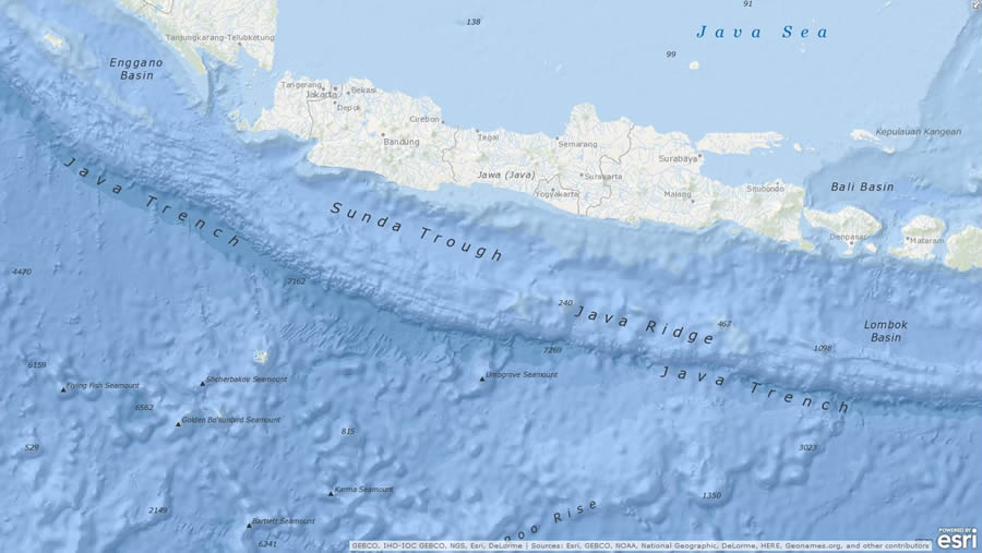 The island of Java in Indonesia is situated next to some fascinating underwater features, such as the Sunda Trough and the Java Trench.
