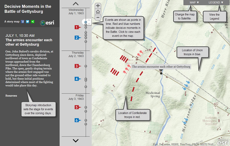 Modern historians used a story map to geographically and chronologically organize events that occurred during the Battle of Gettysburg. The story map helps to show which battlefield strategies worked and which ones failed.