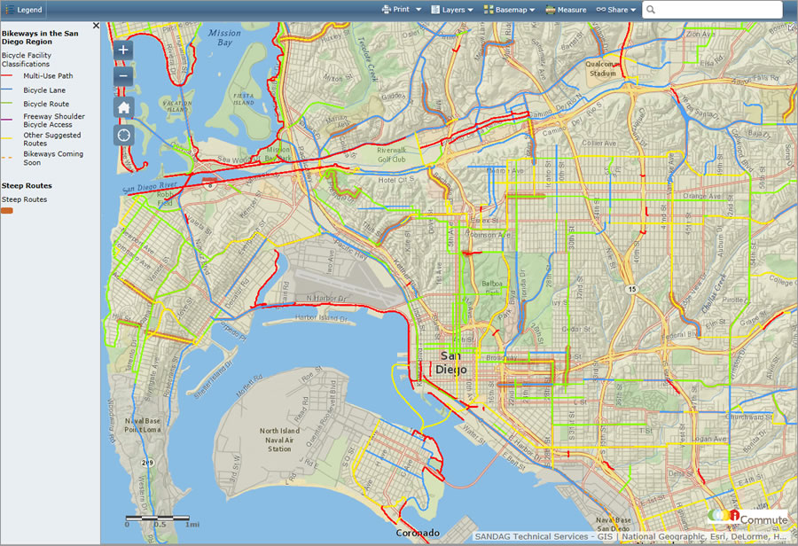 You can plan your bike ride in San Diego County using this intricate, interactive map created using Esri ArcGIS Online technology.