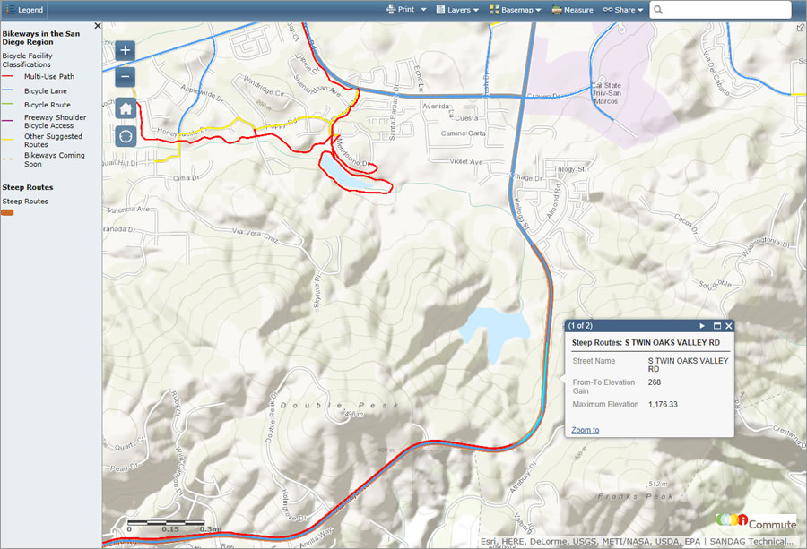 The map shows the location of steep grades.