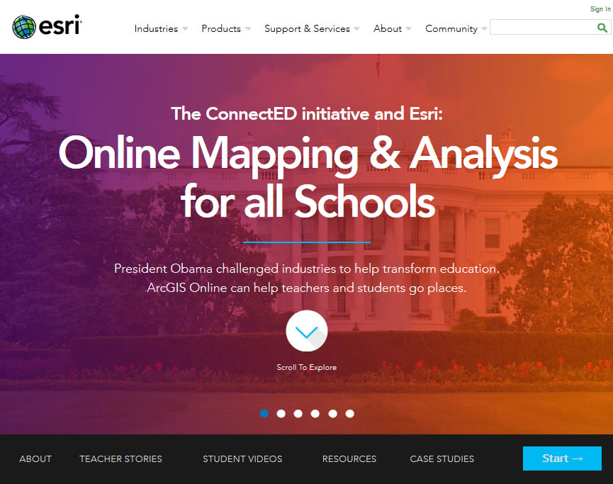 Esri President Jack Dangermond heeded a call from President Obama and offered free ArcGIS Online organizational subscriptions to all US K–12 schools.