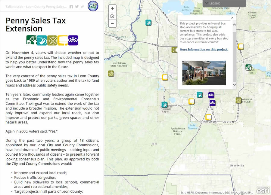 Leon County staff felt the Story Map Journal app was a perfect means for disseminating information to voters about projects that would be funded by the tax.