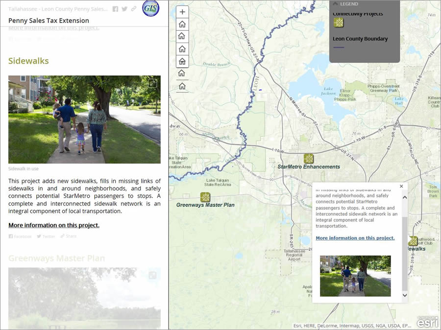 Many photographs reflecting the types of improvements that would be made with the tax money were included in the Story Map Journal app.