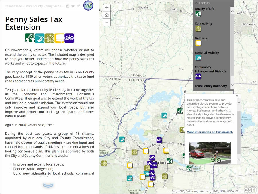 You can click on an icon in the Story Map Journal app to learn more about a project funded by the penny sales tax.