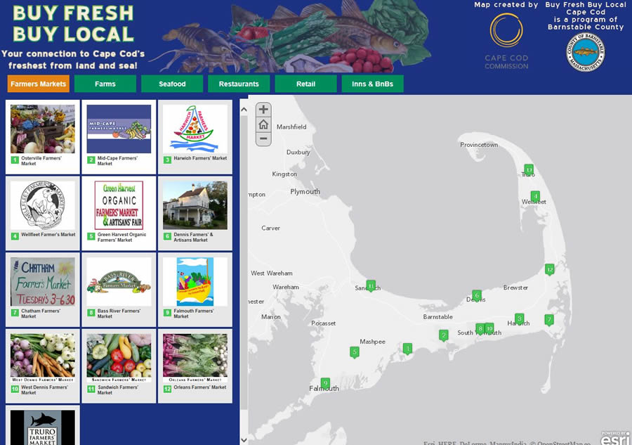 The grand prize winning Buy Fresh Buy Local story map shows people where they can buy produce grown right on Cape Cod and fish caught in nearby waters.