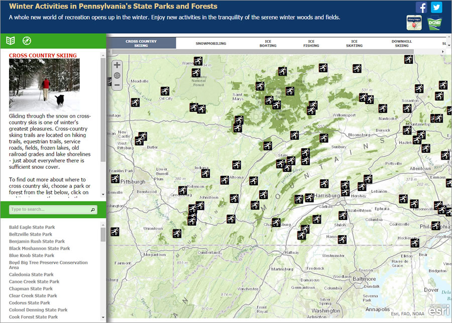 This winning story map shows popular winter recreational spots in Pennsylvania.