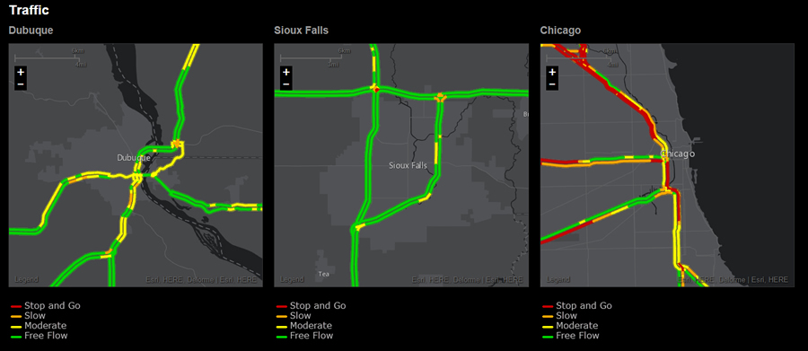 The traffic flow in Sioux Falls was light compared to that in Chicago and even in Dubuque during a recent analysis by Sohl.
