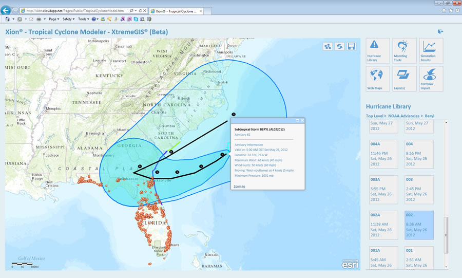 You can view real-time information via ArcGIS Online such as this advisory about Tropical Storm Beryl, which made landfall in Jacksonville Beach, Florida in May 2012.
