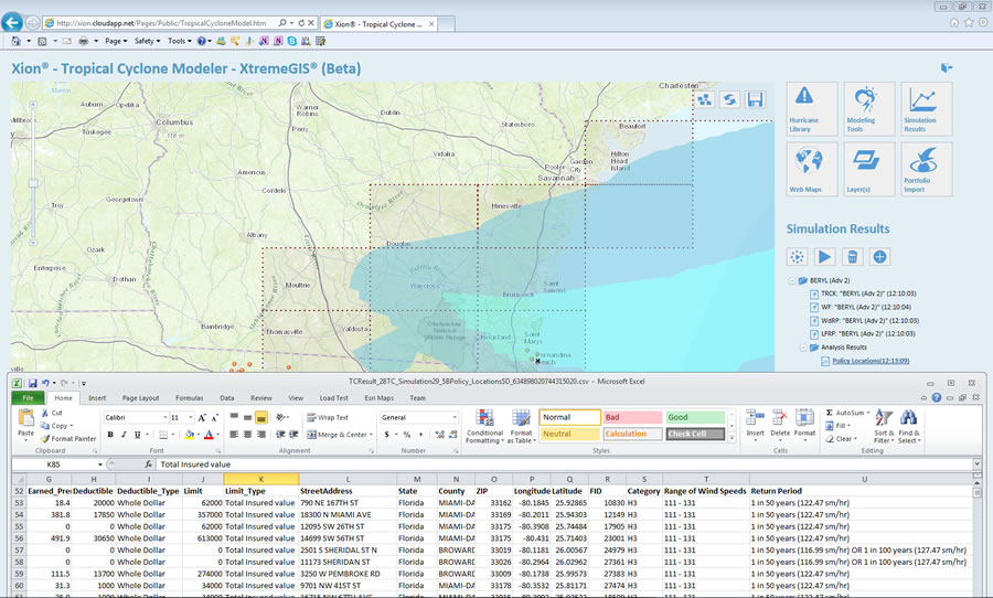 The highlighted geography shows the insured value loss estimates after Beryl made landfall.