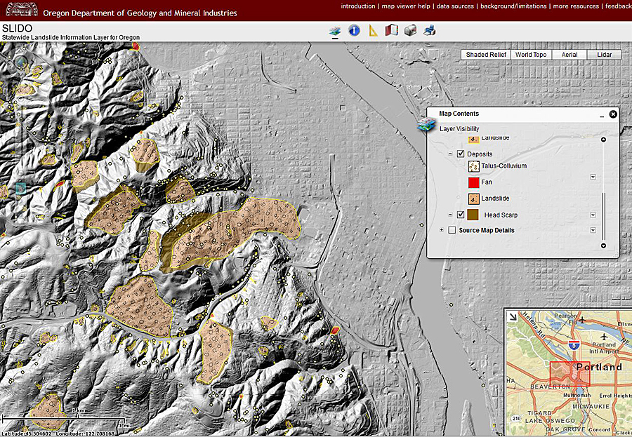 DOGAMI's SLIDO (Statewide Landslide Information Layer for Oregon) web viewer allows users to visualize and locate landslide hazards. The addition of lidar and other supplemental basemaps let users visualize morphological features, land use, and infrastructure.
