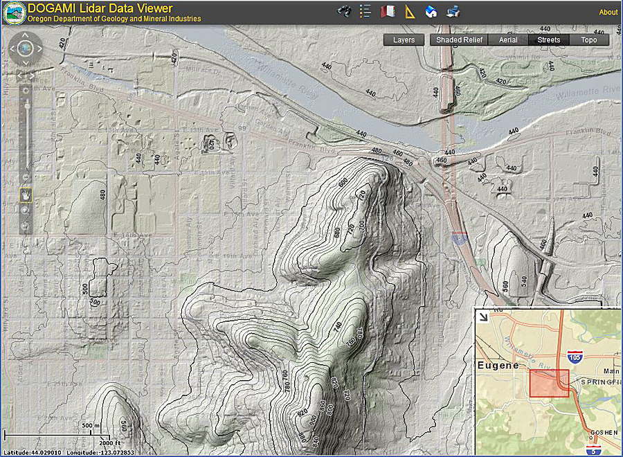 DOGAMI's Lidar Data Viewer hosts an unprecedented volume of lidar data. Users have access to multiple base map overlays.