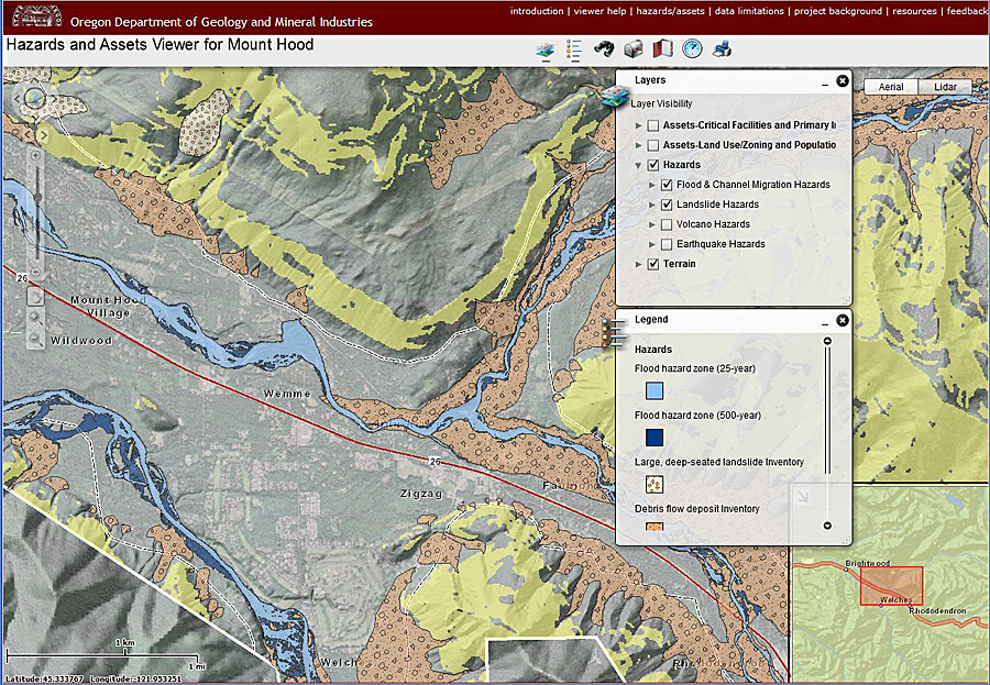 DOGAMI's multi-hazard analysis for the Mount Hood Region is delivered to the public as a formal DOGAMI publication as well as an on-line web viewer. This viewer features asset and hazard layers used in the study and allows users to visualize the dynamic relationships of Mount Hood's natural hazards and the vulnerability of the assets to these hazards.