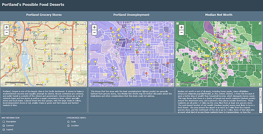 Web-based mapping application demonstrating location of major grocery stores in Portland, Oregon (left) in relationship to unemployment (center) and net worth (right).