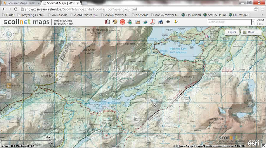 Students can explore the terrain of Ireland using Scoilnet Maps. © Ordnance Survey Ireland/Government of Ireland. Copyright Permit No. MP 0005613