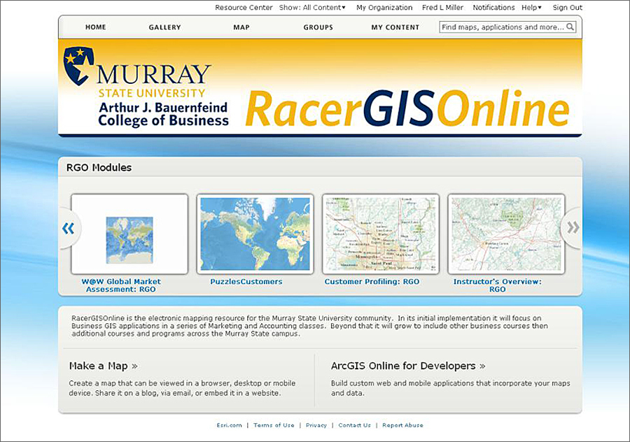 RacerGISOnline home page.