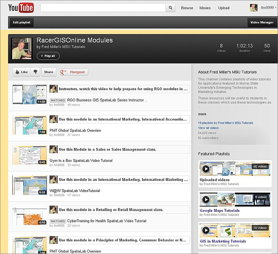 RacerGISOnline modules YouTube playlist.