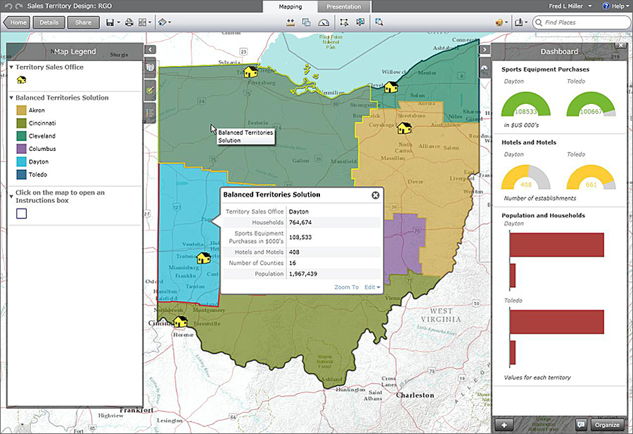 Sample business GIS module map.