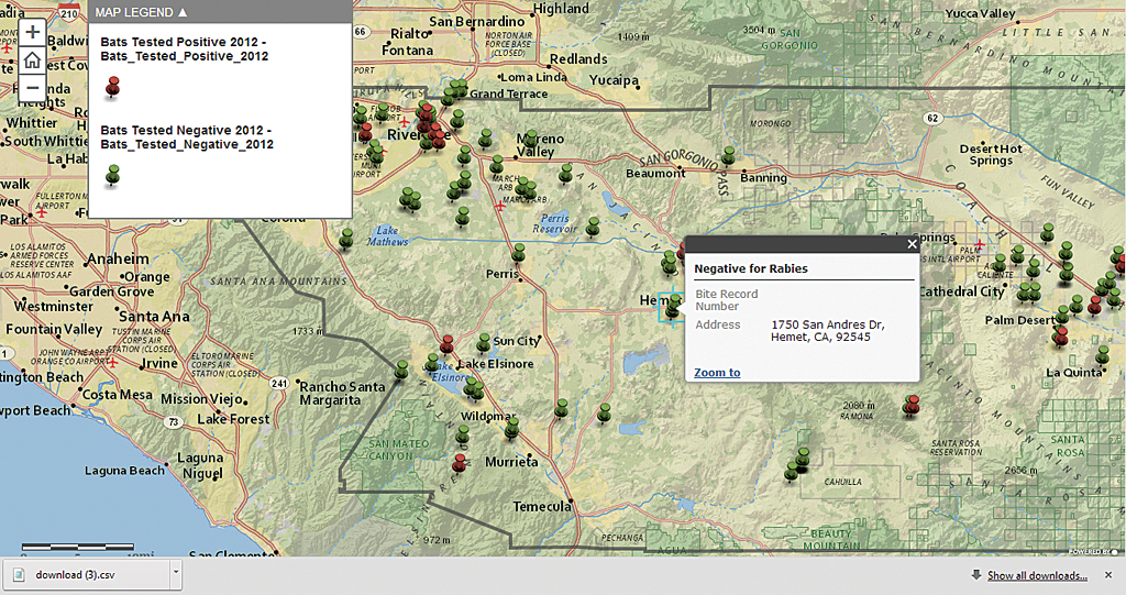 Riverside County uses ArcGIS Online for internally facing web maps like this one showing where bats were trapped and tested for rabies.